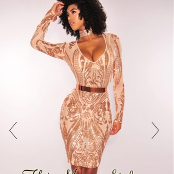 c8bb7a9cd36 Hot Miami Styles Dresses   Rose Gold Sequins V Neck Mesh Long ...